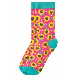 "Chaussettes adultes ""Big Foot Sock, Flamingo Sunflower"" - coton bio"