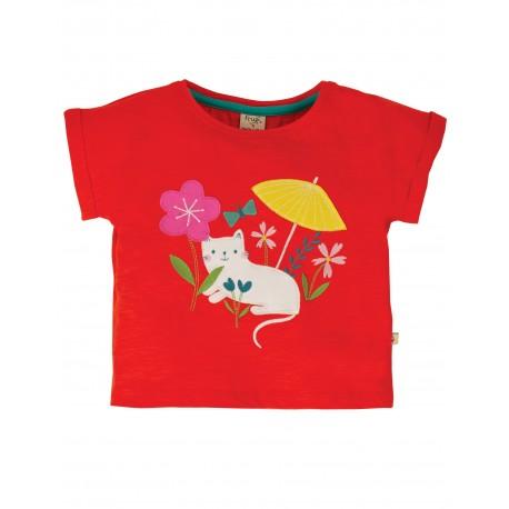 """T-shirt """"Sophia Slub T-shirt, Koi Red Cat"""" - coton bio"""