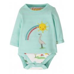 "Body t-shirt ""Poppet 2 in 1 Body, Light Aqua / Rainbow"" - coton bio"