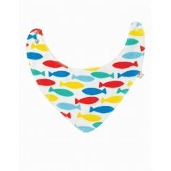 "Bavoir foulard réversible "" Marley reversible Bib, Rainbow Fish"" - coton bio"