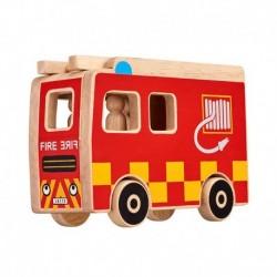 Camion de pompiers et personnages en bois