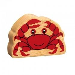 Crabe en bois naturel peint
