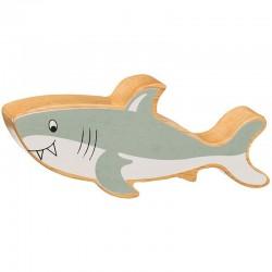 Requin en bois naturel peint