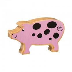 Cochon en bois naturel peint