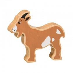 Chèvre en bois naturel peint