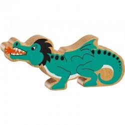 Dragon en bois peint naturel