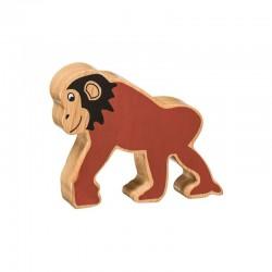 Chimpanzé en bois naturel peint