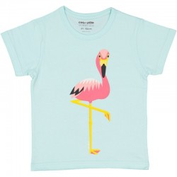 """T-shirt enfant manches courtes """"Flamant rose"""" - coton bio"""