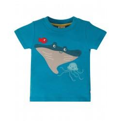 """T-shirt """"Little Creature Applique Top, Motosu Blue / Mantaray"""" - coton bio"""
