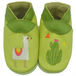 """Chaussons en cuir souple """"Mon petit Lama"""""""