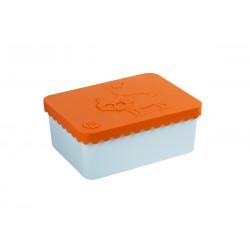 "Petite boîte à tartines ""Renard"" - orange / bleu ciel"