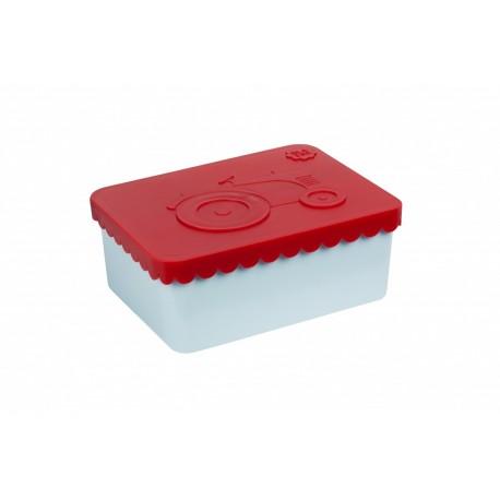 """Petite boîte à tartines """"Tracteur"""" - rouge / bleu ciel"""