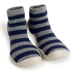 "Chaussons en cachemire et laine ""Mountain Stripes"" - Made in France"