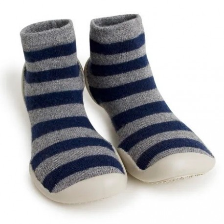 """Chaussons en cachemire et laine """"Mountain Stripes"""" - Made in France"""
