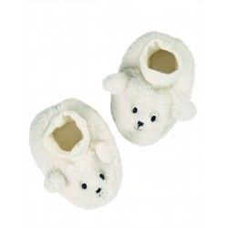 "Chaussons bébé ""Cosy Booties, Soft White / Sheep"" - coton bio"