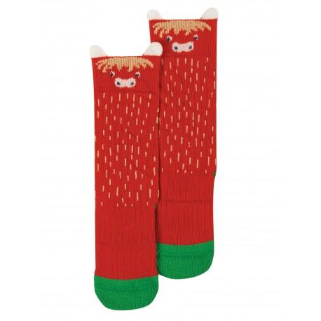 "Chaussettes ""Friendly Face Socks, Highland Cow"" - coton bio"