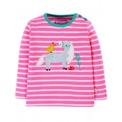"""T-shirt """"Button Applique Top, Guava Pink Stripe/Horse"""" - coton bio"""