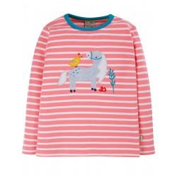 """T-shirt enfant """"Discovery Applique Top, Guava Pink Stripe/Horse"""" - coton bio"""