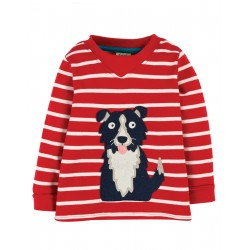 "T-shirt ""Easy On Top, Tango Red Breton/Dog"" - coton bio"