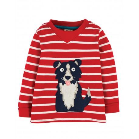"""T-shirt bébé """"Easy On Top, Tango Red Breton/Dog"""" - coton bio"""