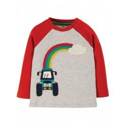 "T-shirt bébé ""Henry Raglan Top, Grey Marl/Tractor"" - coton bio"