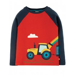 "T-shirt ""Albert Applique Top, Ginger/Tractor"" - coton bio"
