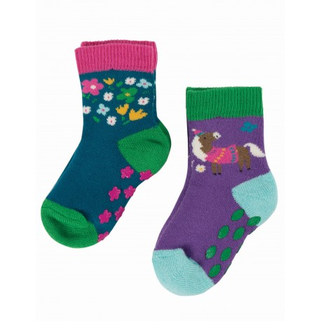"Chaussettes anti-dérapantes ""Grippy Socks 2 Pack, Horse Multipack"" - coton bio"