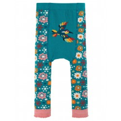 "Collants bébé ""Little Knitted Leggings, Loch Blue / Flowers"" - coton bio"