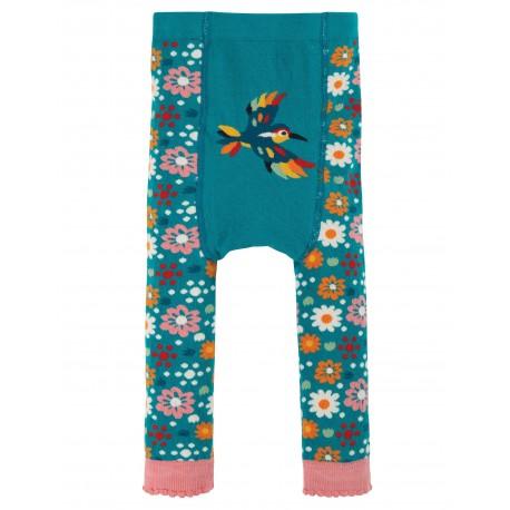 """Collants bébé """"Little Knitted Leggings, Loch Blue / Flowers"""" - coton bio"""
