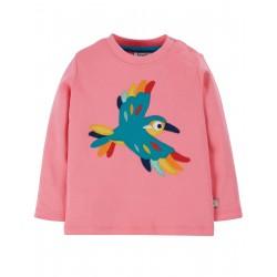 """T-shirt bébé """"Little Discovery Applique Top, Guava Pink / Bird"""" - coton bio"""