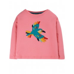 "T-shirt ""Bethany Boxy Top, Guava Pink / Bird"" - coton bio"