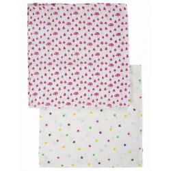 "Assortiment de 2 Tetra ""Lovely 2 Pack Muslin, Mushrooms Multipack"" - coton bio"