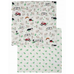 "Assortiment de 2 Tetra ""Lovely 2 Pack Muslin, Tractor Multipack"" - coton bio"
