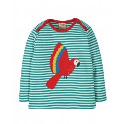 """T-shirt bébé """"Bobby Applique Top, Jewel Fine Stripe / Parakeet"""" - coton bio"""