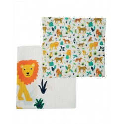 "Assortiment de 2 Tetra ""Lovely 2 Pack Muslin, Big Cat Multipack"" - coton bio"