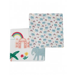 "Assortiment de 2 Tetra ""Lovely 2 Pack Muslin, Elephant Multipack"" - coton bio"