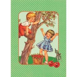 """Carte postale """"Cueillette de cerises"""""""