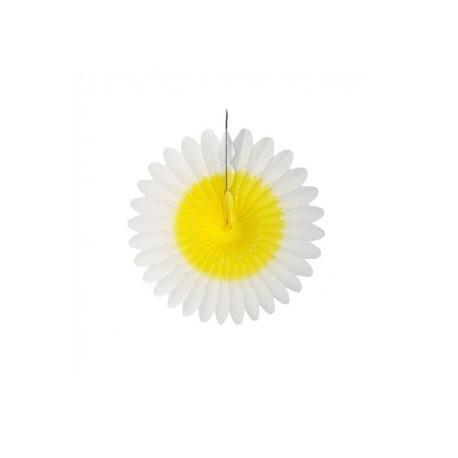"""Fleur en papier """"Blanc-jaune"""" diamètre 32 cm"""