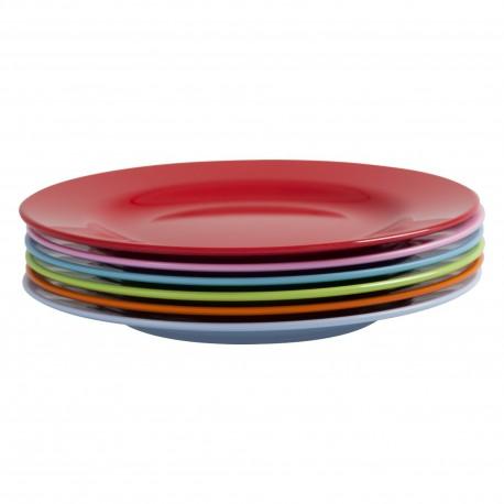 Assortiment de 6 petites assiettes colorées en mélamine (à la pièce)