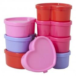 """Assortiment de 8 petites boîtes en plastique """"Coeur"""" (à la pièce)"""