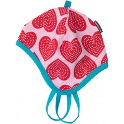 """Bonnet bébé """"Hearts"""" avec liens - coton bio"""