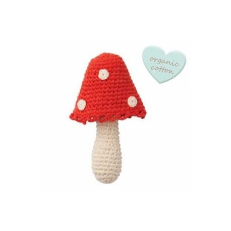 """Hochet crochetés """"Crochet rattles"""" Mushroom - coton bio"""