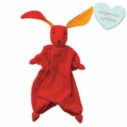"Doudou lapin ""Tino"" Red/Orange - coton bio"