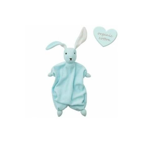 """Doudou lapin """"Tino"""" Baby blue/White - coton bio"""