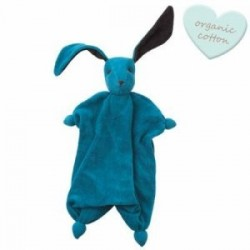"Doudou lapin ""Tino"" Bleu/Anthracite - coton bio"