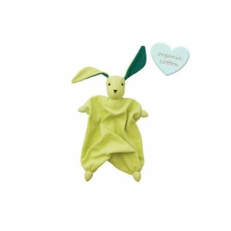 "Doudou lapin ""Tino"" Lime/Green - coton bio"