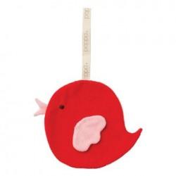 "Doudou attache-tétine ""Bird red / baby pink"""