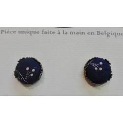 """Boucles d'oreille clou """"Bleu grande fleurs"""""""