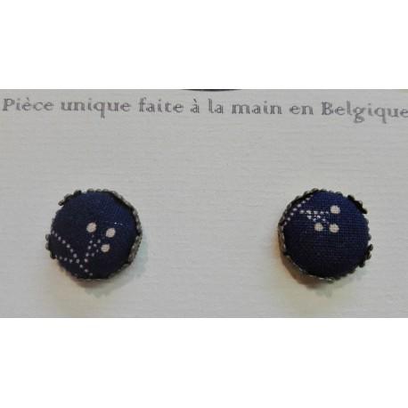 "Boucle d'oreille clou ""Bleu"""