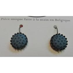 """Boucles d'oreilles pendantes """"Vert - bleu petites fleurs"""""""